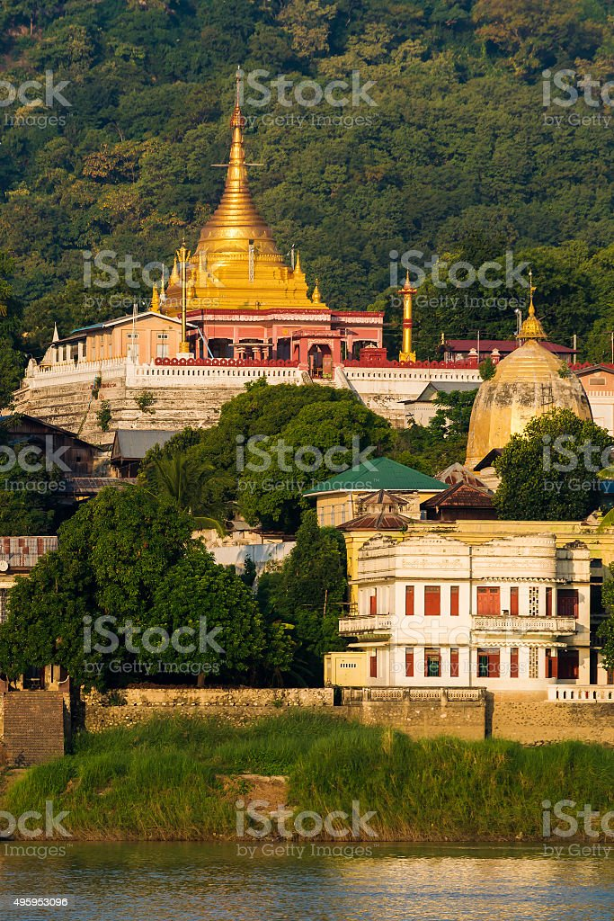 Sagaing temples in the morning stock photo