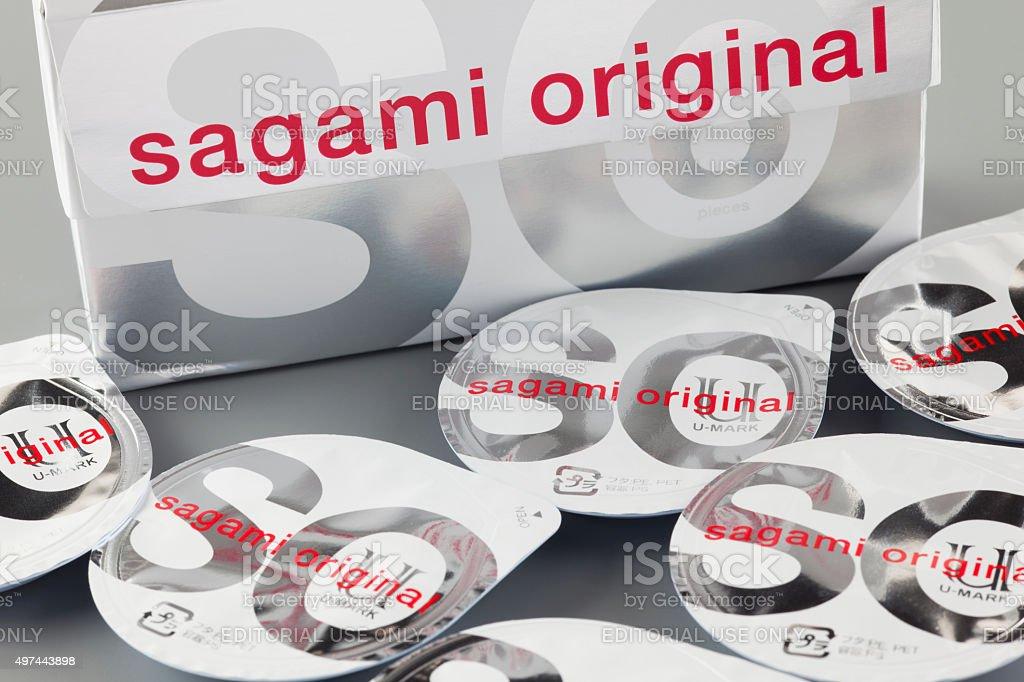 Sagami original condoms with boxes stock photo