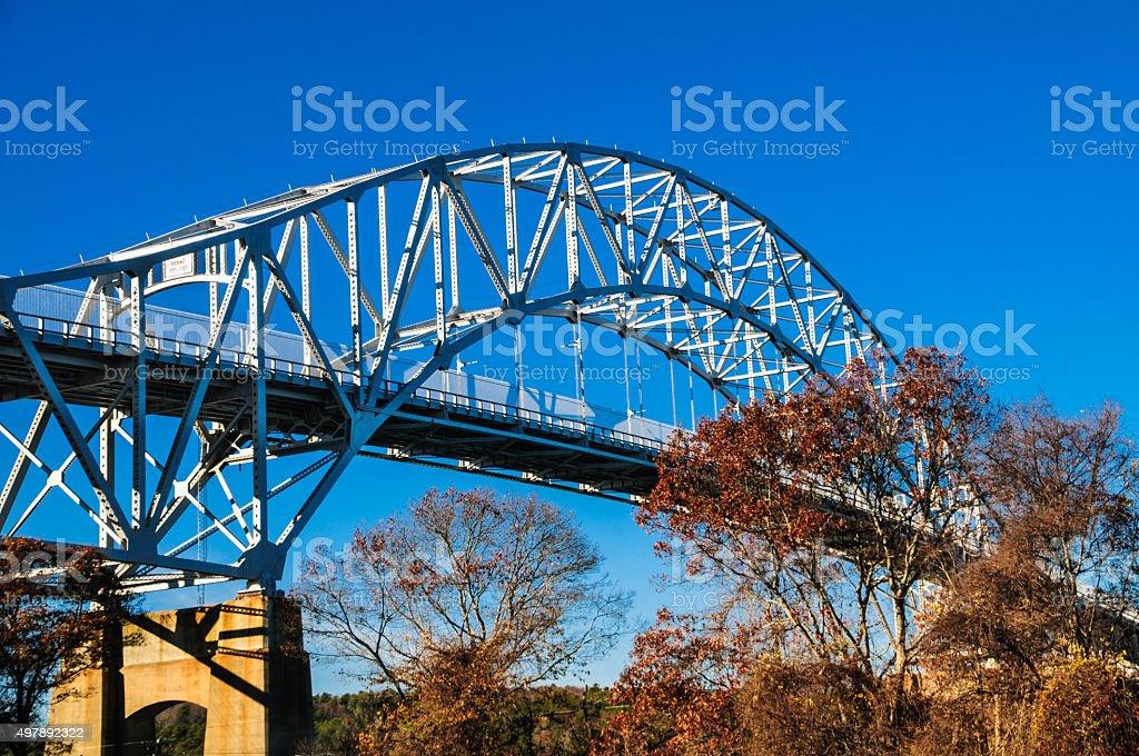 Sagamore Bridge in Autumn stock photo