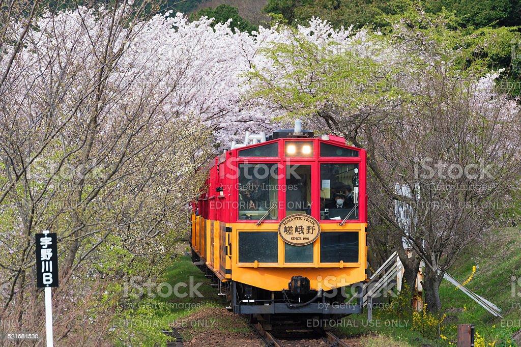Sagano Romantic Train in Kyoto, Japan stock photo