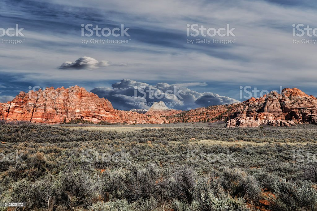 Sage Brush and Red Rock stock photo