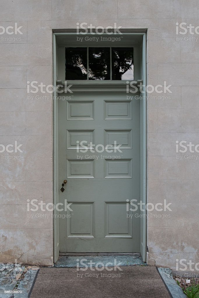 Sage Green Door With Transom stock photo