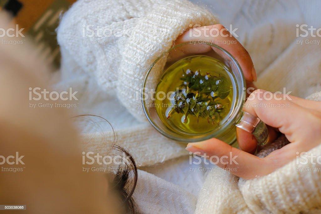 Sage tea with woman hand stock photo