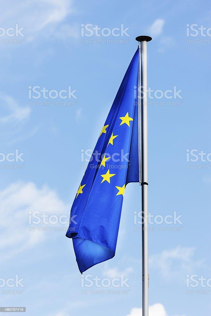 Sagging flagging Europe stock photo