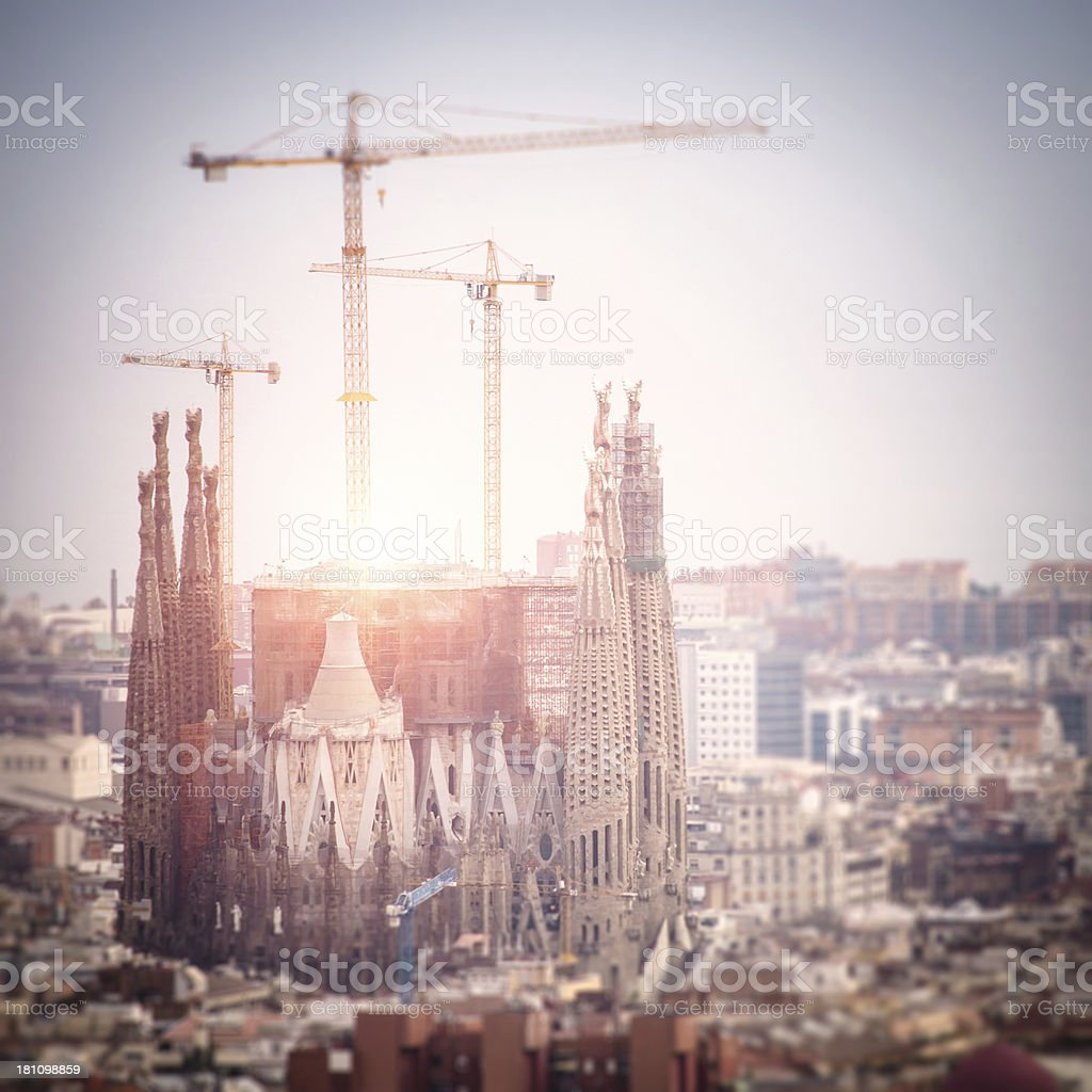 Sagrada Familia against sunlight - Tilt shift royalty-free stock photo