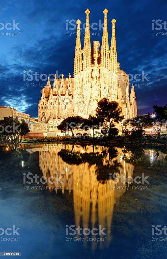 Sagrada Familia at night, Barcelona stock photo