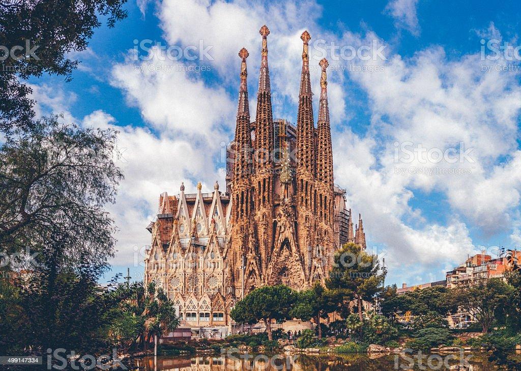 Sagrada Familia Cathedral in Barcelona stock photo