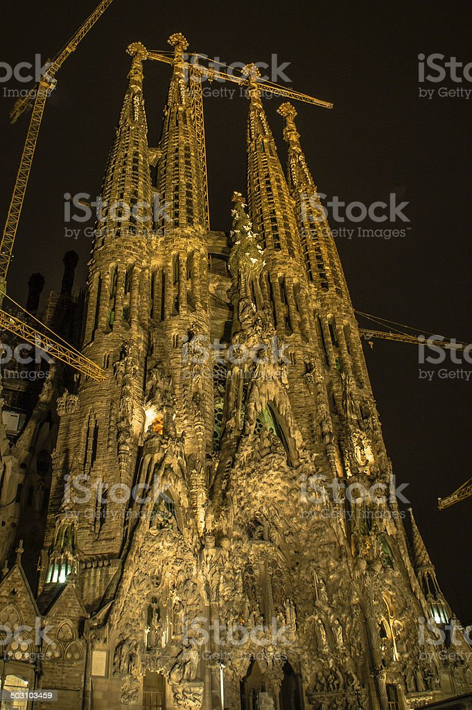 Sagrada Familia Catherdral at Night stock photo