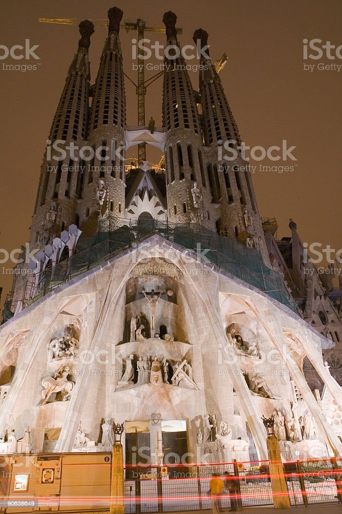 Sagrada Familia Catherdral at Night royalty-free stock photo
