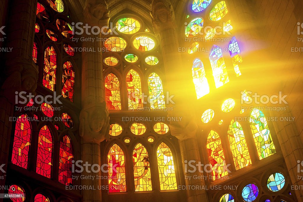 Sagrada Familia glass window in Barcelona stock photo