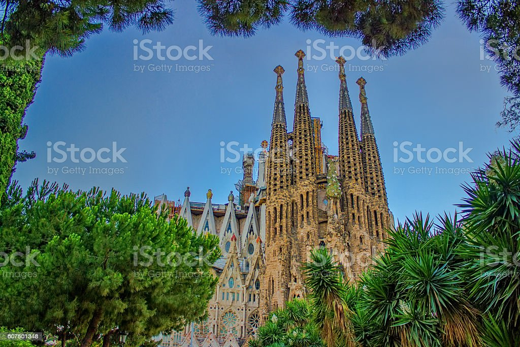 Sagrada Familia in summertime in Barcelona, Spain stock photo