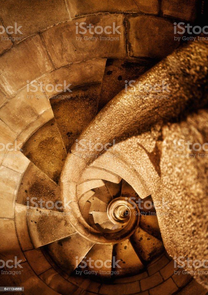 Sagrada familia winding staircase stock photo