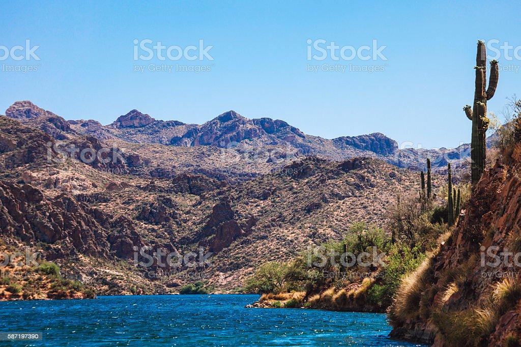 Saguaro Lake, Arizona. stock photo
