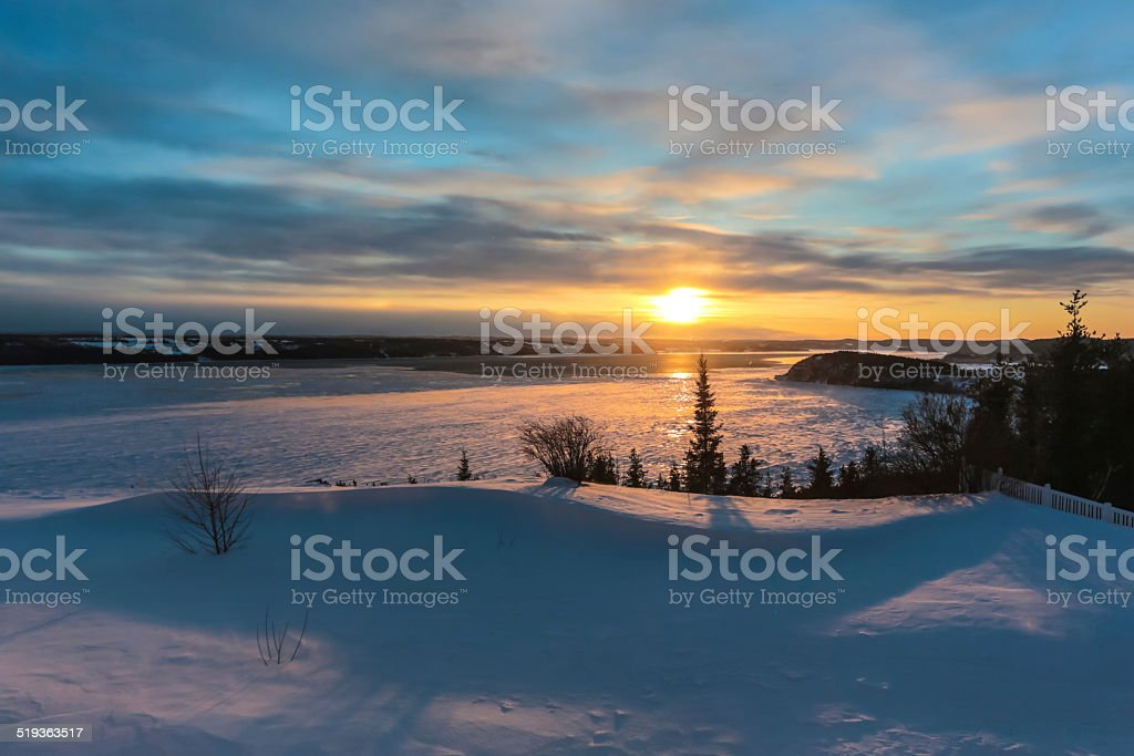 Saguenay Fjord at Sunset stock photo