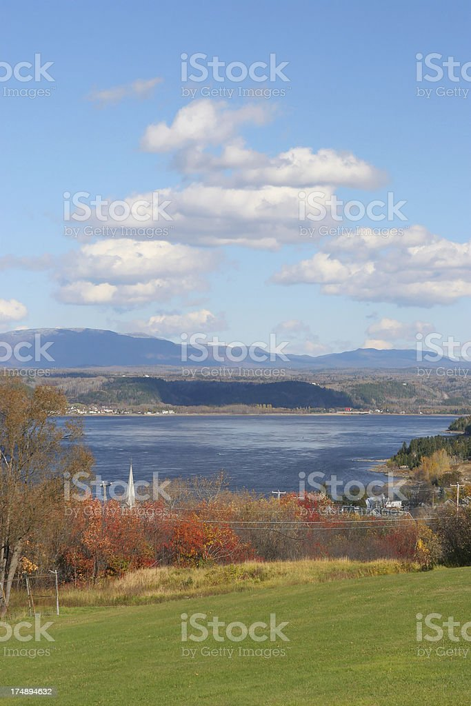 Saguenay river with Monts-Valins mountains stock photo