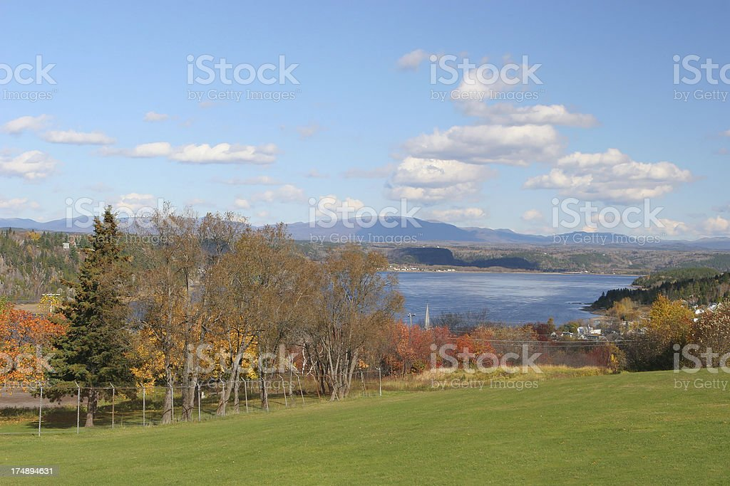 Saguenay river with Mont-valin mountains in the back royalty-free stock photo