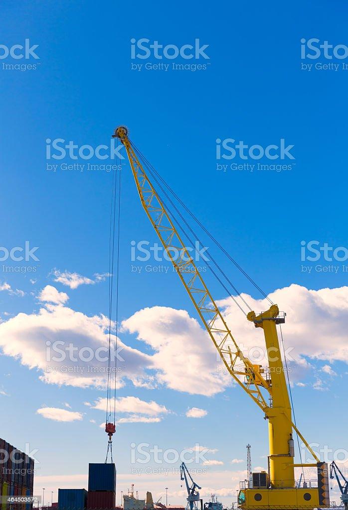 Sagunto port dock crane in Valencia stock photo
