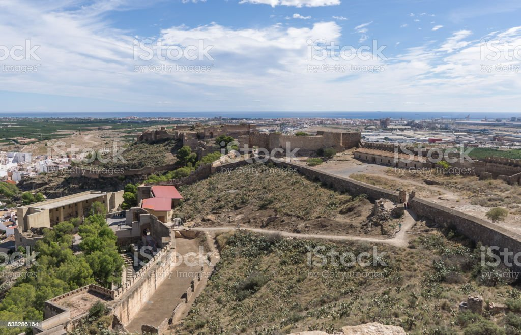 Sagunto Roman fortification castle, the old theater restored to the stock photo