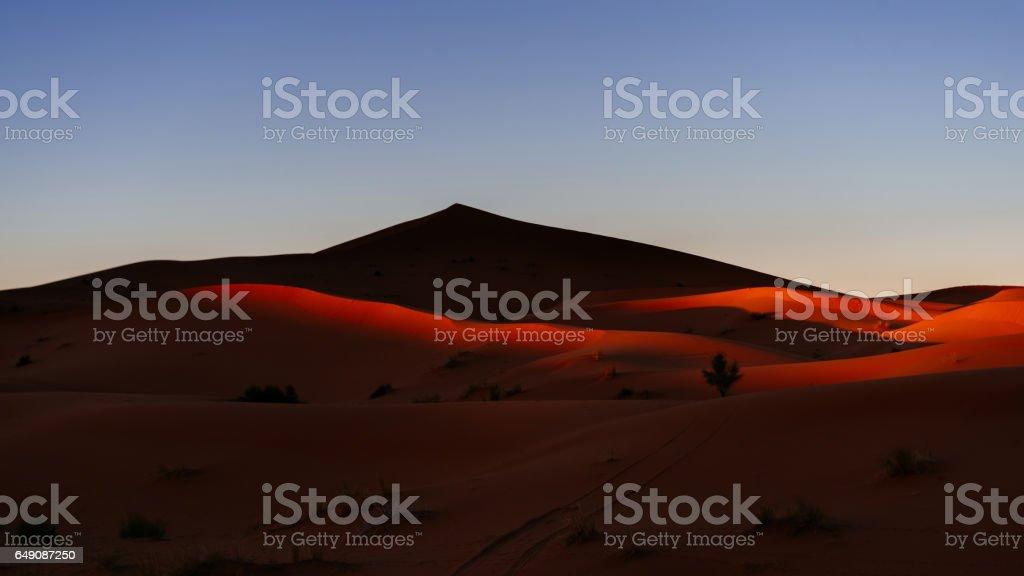 Sahara at sunset, Morocco, Africa stock photo