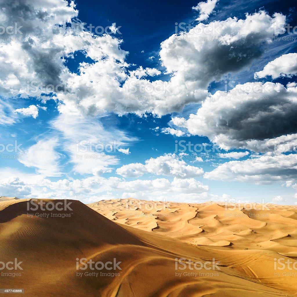 sahara desert landscape with cloudy sky stock photo