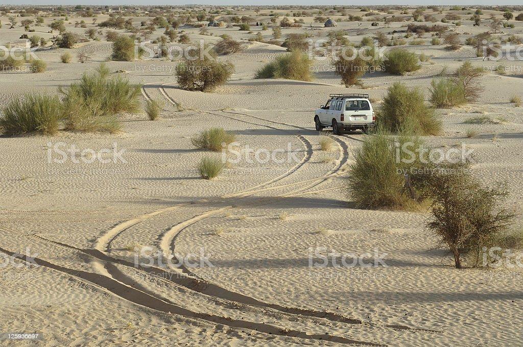 Sahara tracks stock photo