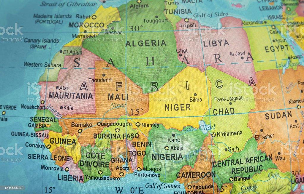 Saharian and sub-Saharian Nations Map royalty-free stock photo