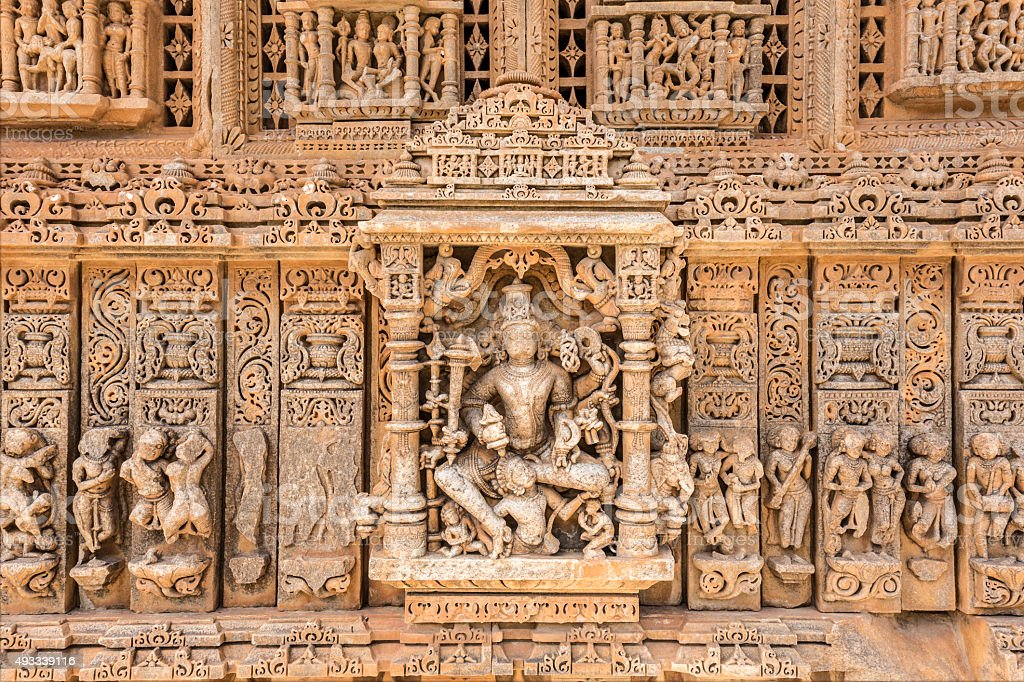 Sahastra Bahu temples stone carved figures in Nagda India stock photo