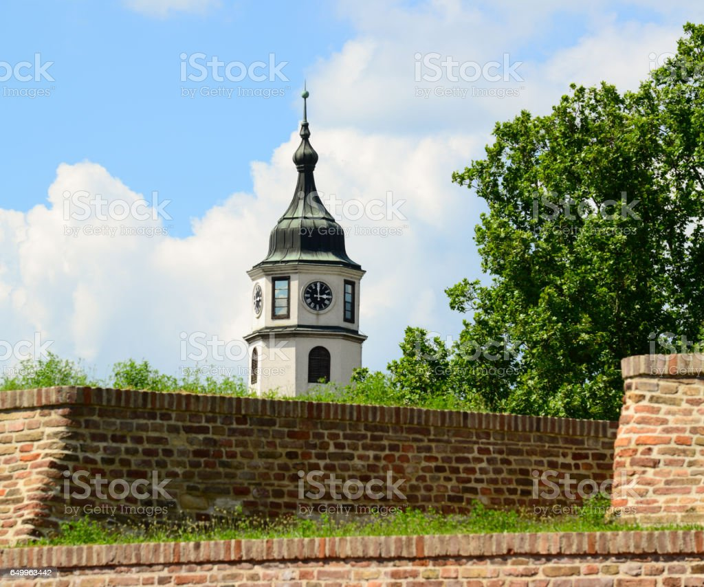 Sahat Tower (Clock Tower), Kalemegdan fortress in Belgrade, Serbia stock photo