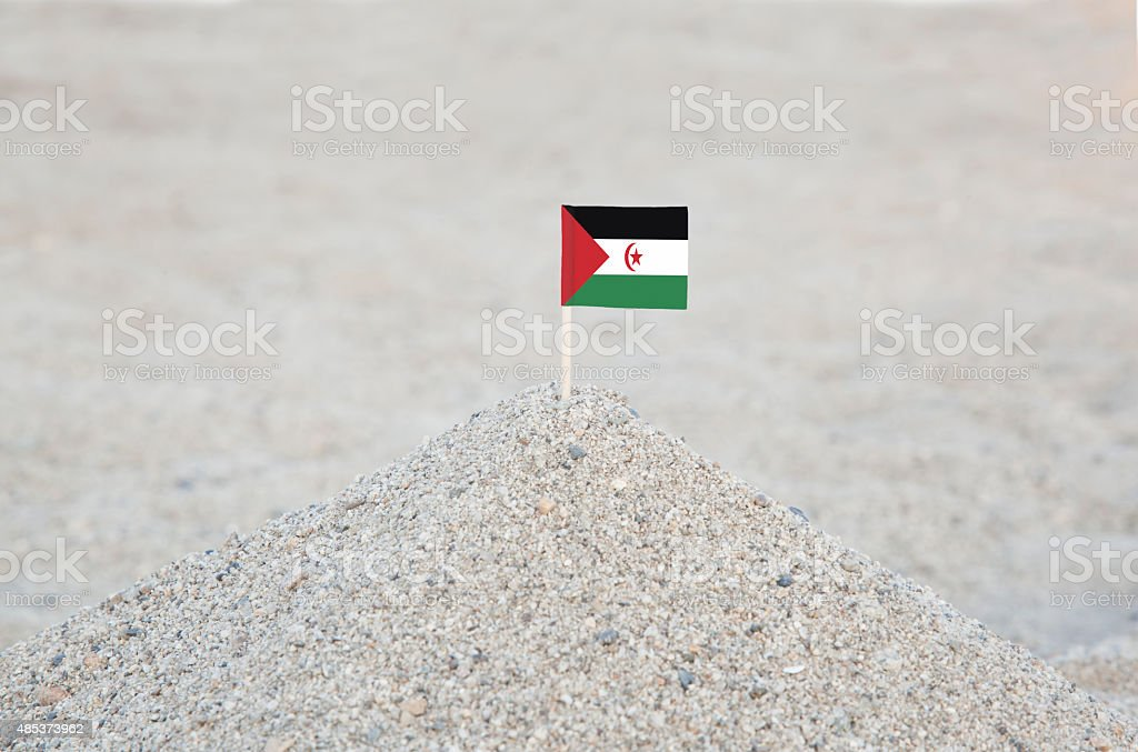 Sahrawi Arab Democratic Republic Flag on the Beach stock photo