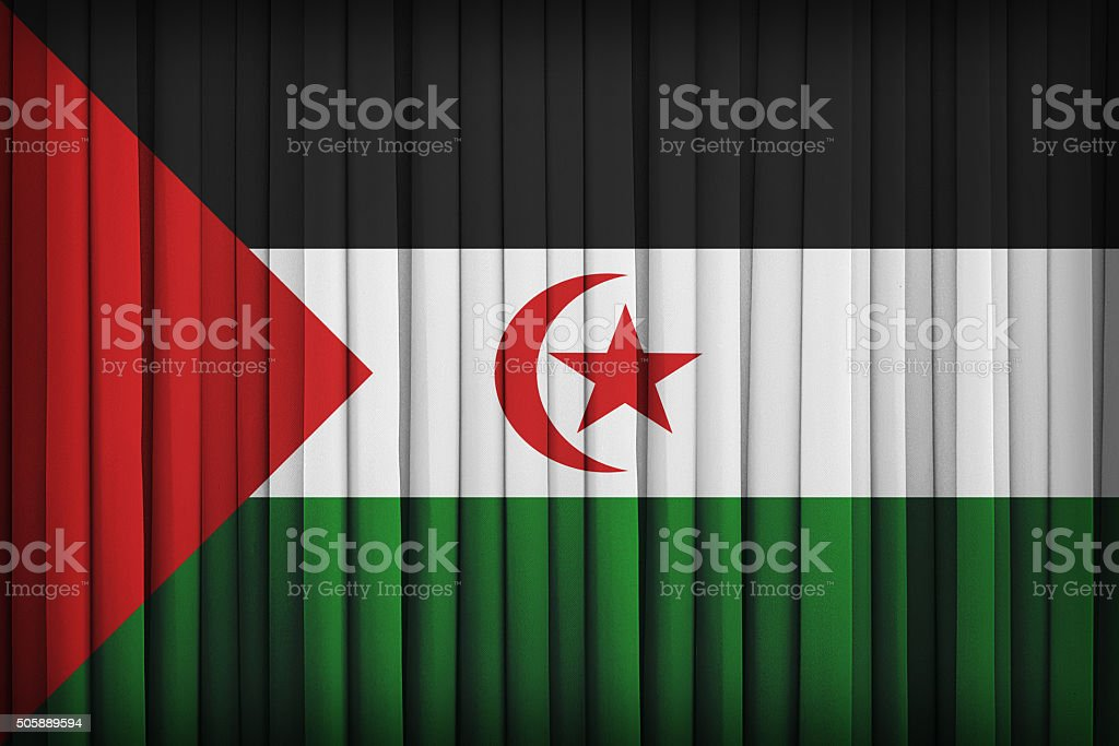 Sahrawi Arab Democratic Republic  flag on the fabric curtain,vin stock photo