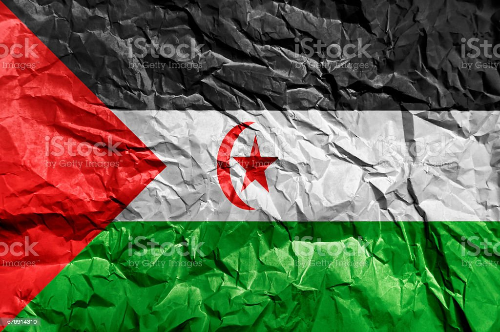 Sahrawi Arab Democratic Republic flag painted on crumpled paper background stock photo