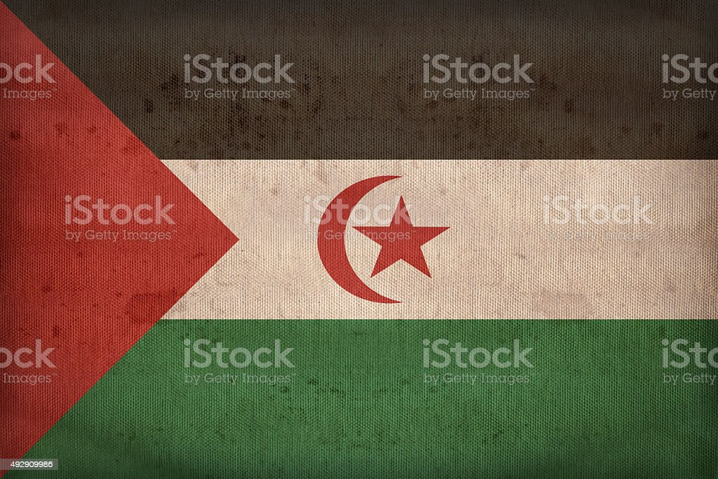 Sahrawi Arab Democratic Republic flag pattern on fabric texture, stock photo