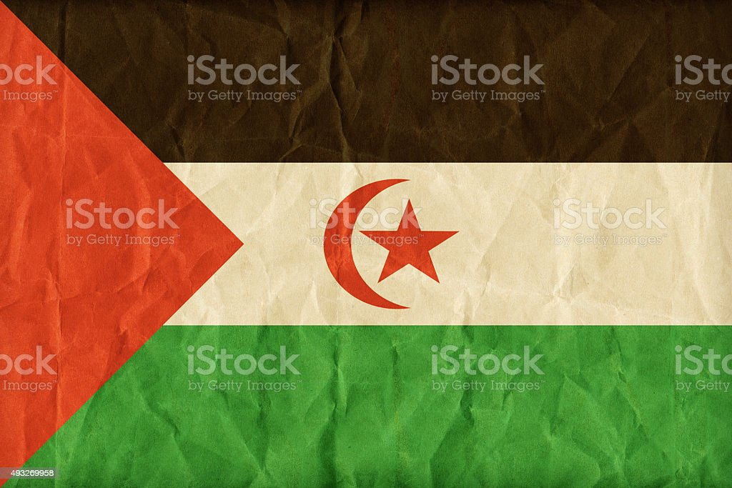Sahrawi Arab Democratic Republic flag pattern on paper texture,r stock photo