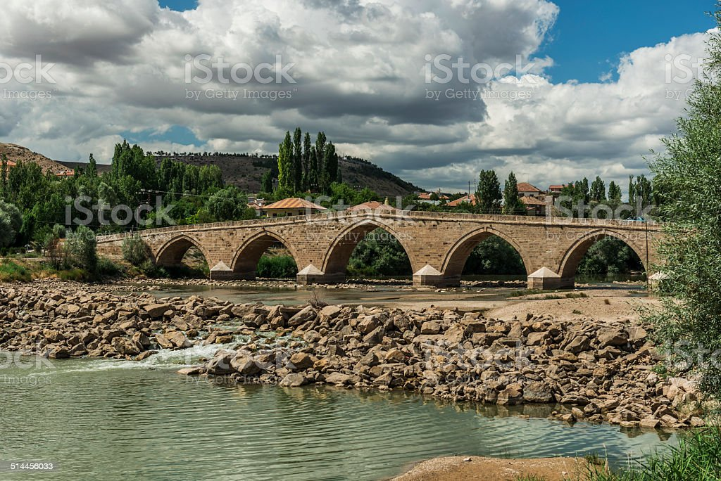 Sahruh bridge, Kayseri, Turkey stock photo