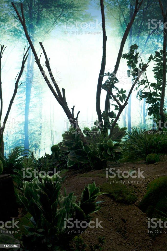 Sahte bitkilerle orman dekorasyonu stock photo