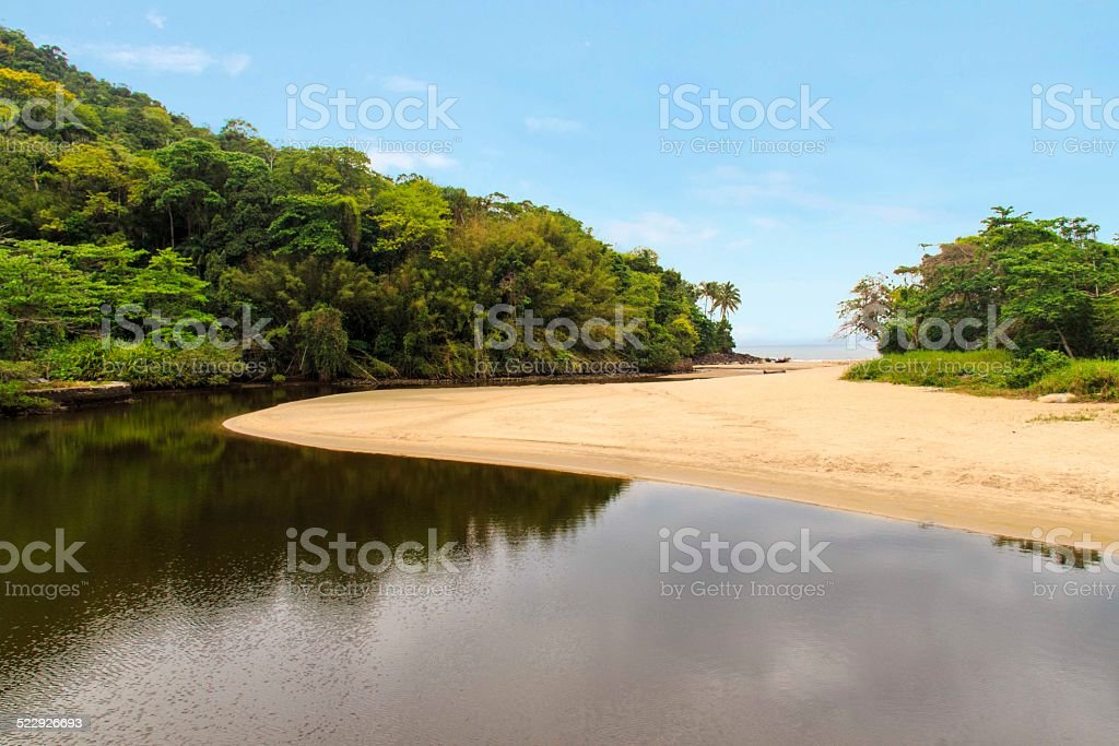 Sahy river flowing into the ocean stock photo