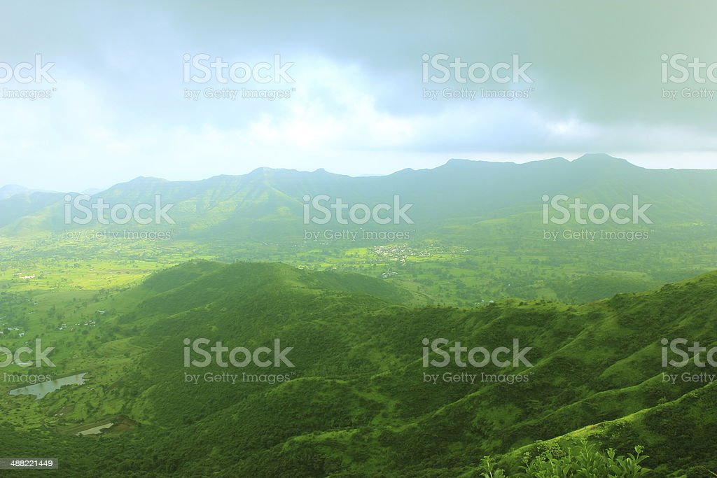 Sahyadri hill range in overcast weather stock photo