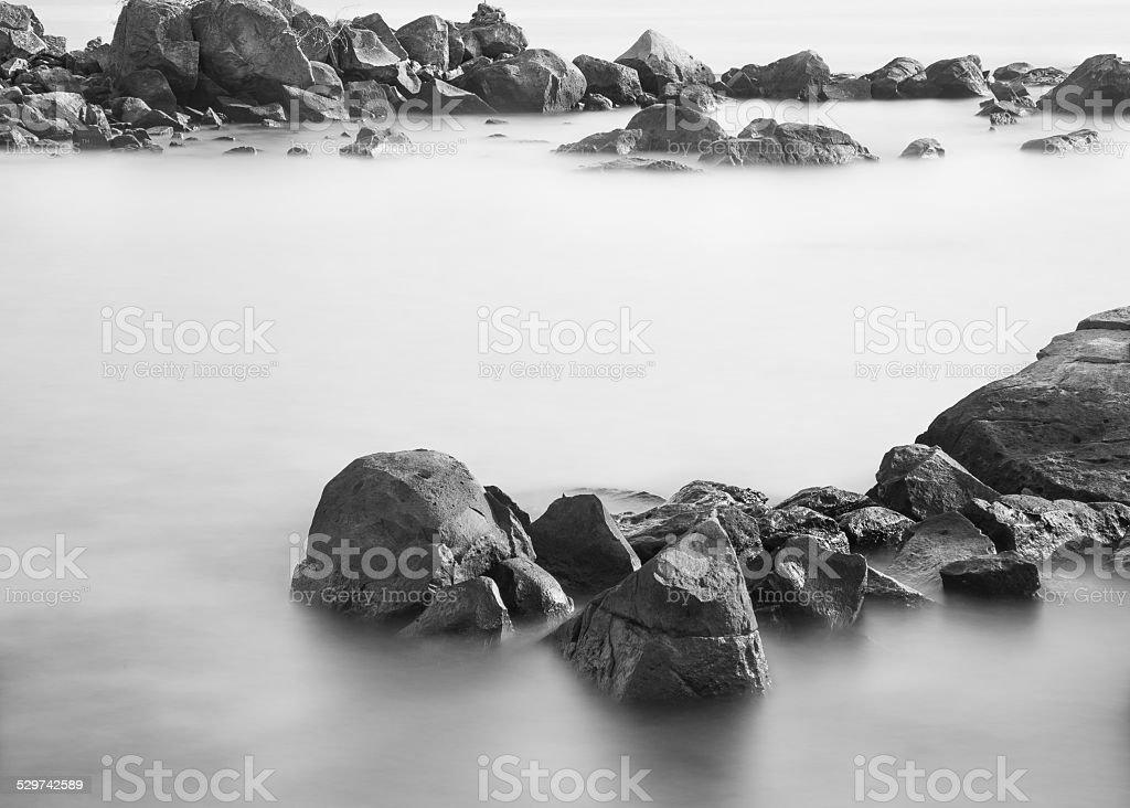 Sai Kung Beach Black And White stock photo