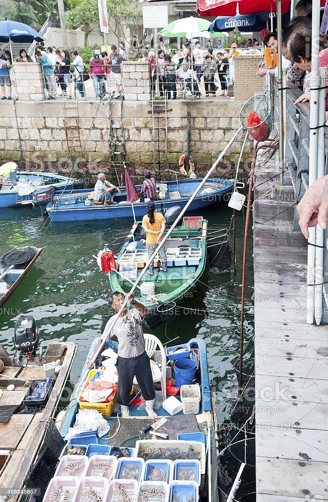 Sai Kung Promenade fish market stock photo