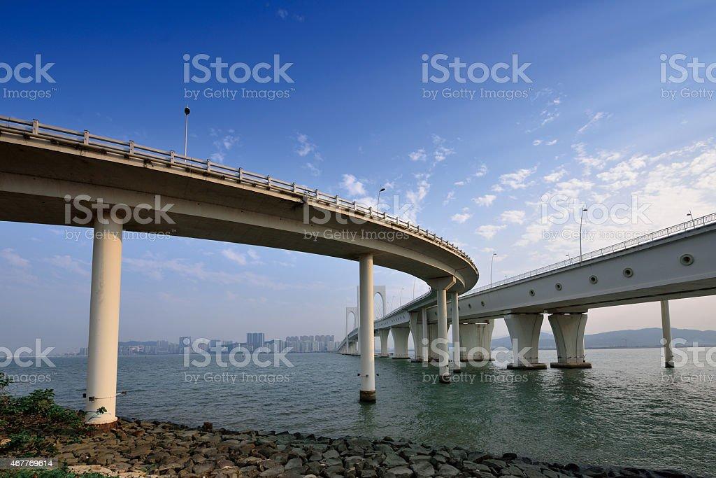 Sai Van bridge at sunset, Macau stock photo