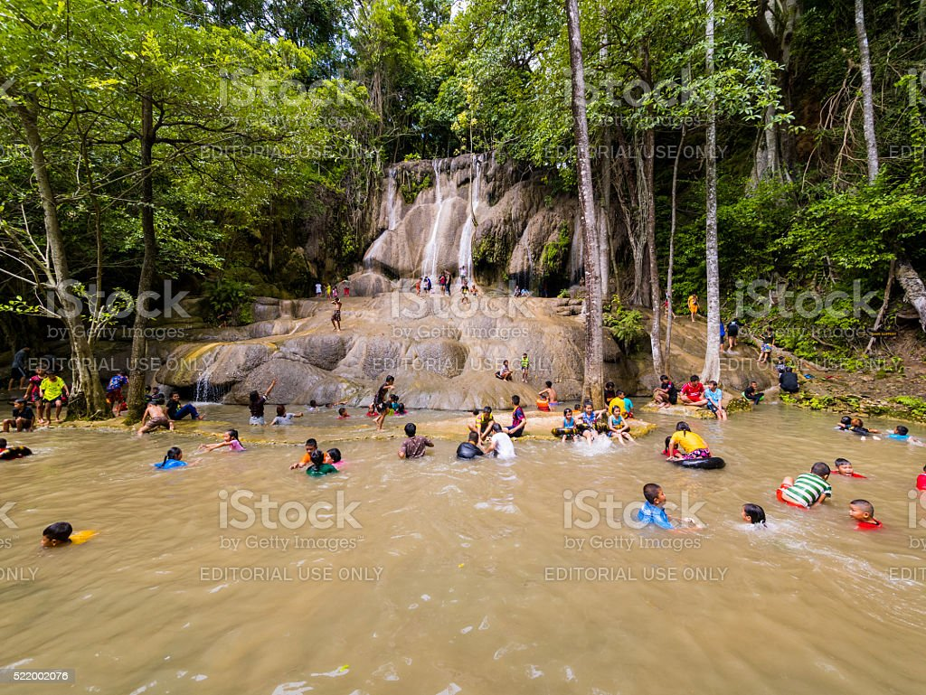 Sai Yok Waterfall in Kanchanaburi, Thailand stock photo