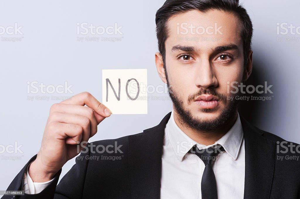 I said No. stock photo