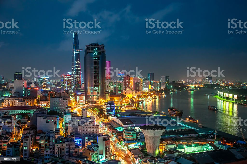 Saigon Aerial Night Skyline stock photo
