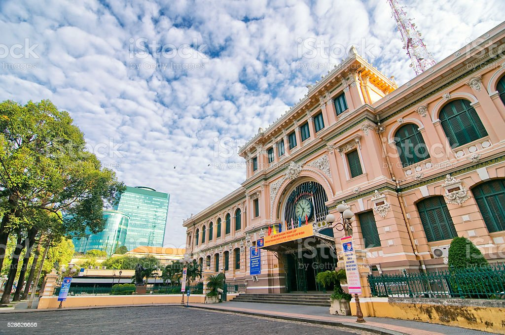 Saigon Central Post Office in Ho Chi Minh, Vietnam. stock photo