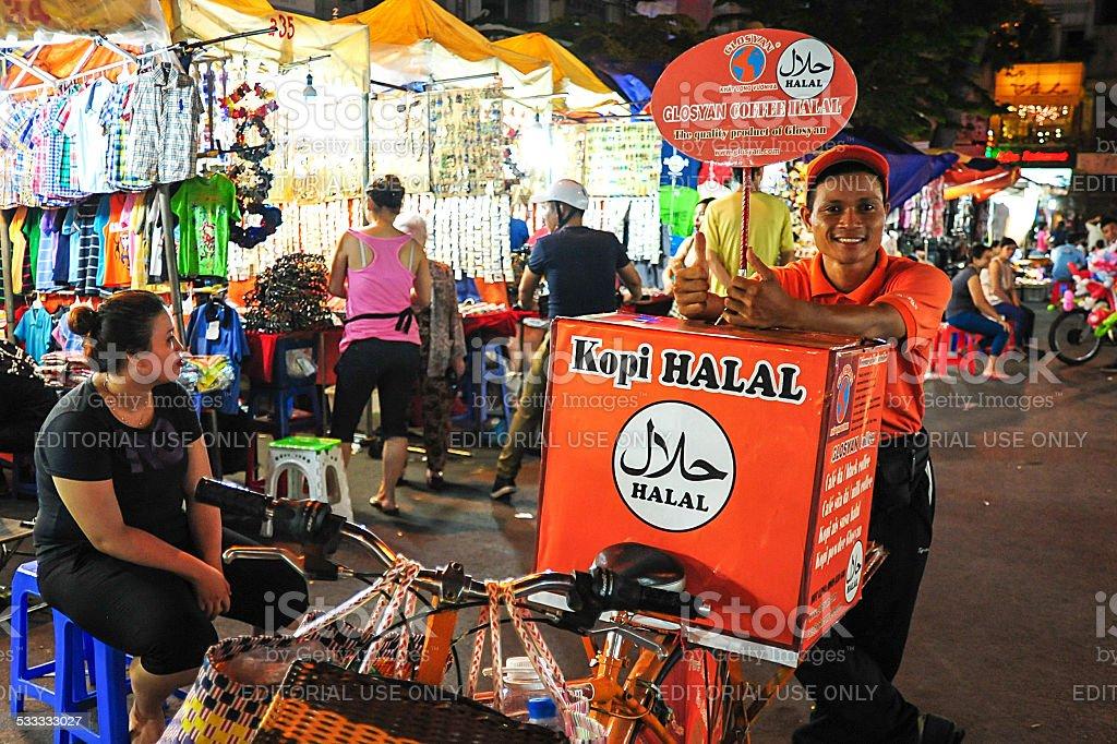 Saigon coffee street vendor stock photo