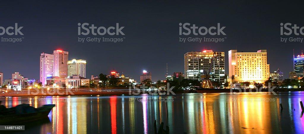 Saigon (Vietnam) in the night royalty-free stock photo