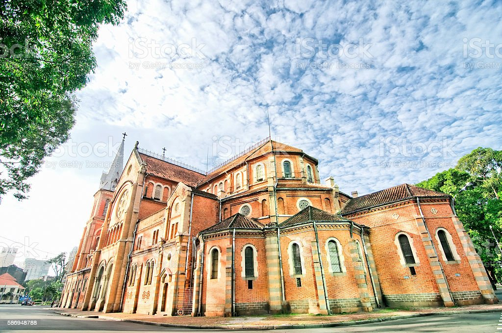 Saigon Notre-Dame Basilica in Ho Chi Minh City, Vietnam stock photo