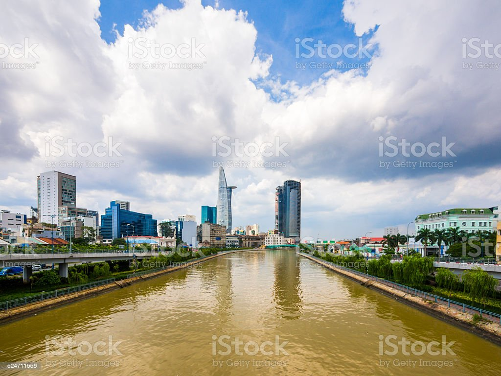 Saigon River in Ho Chi Minh, Vietnam stock photo