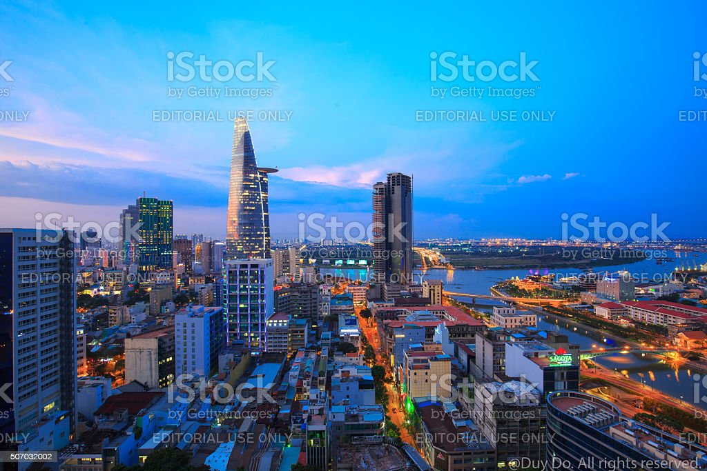 Saigon sunset evening view on high at downtown center royalty-free stock photo