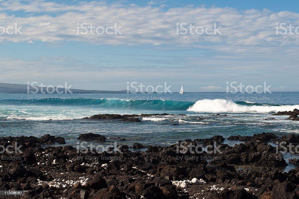 Saiing the Beautiful Kona Coast. stock photo